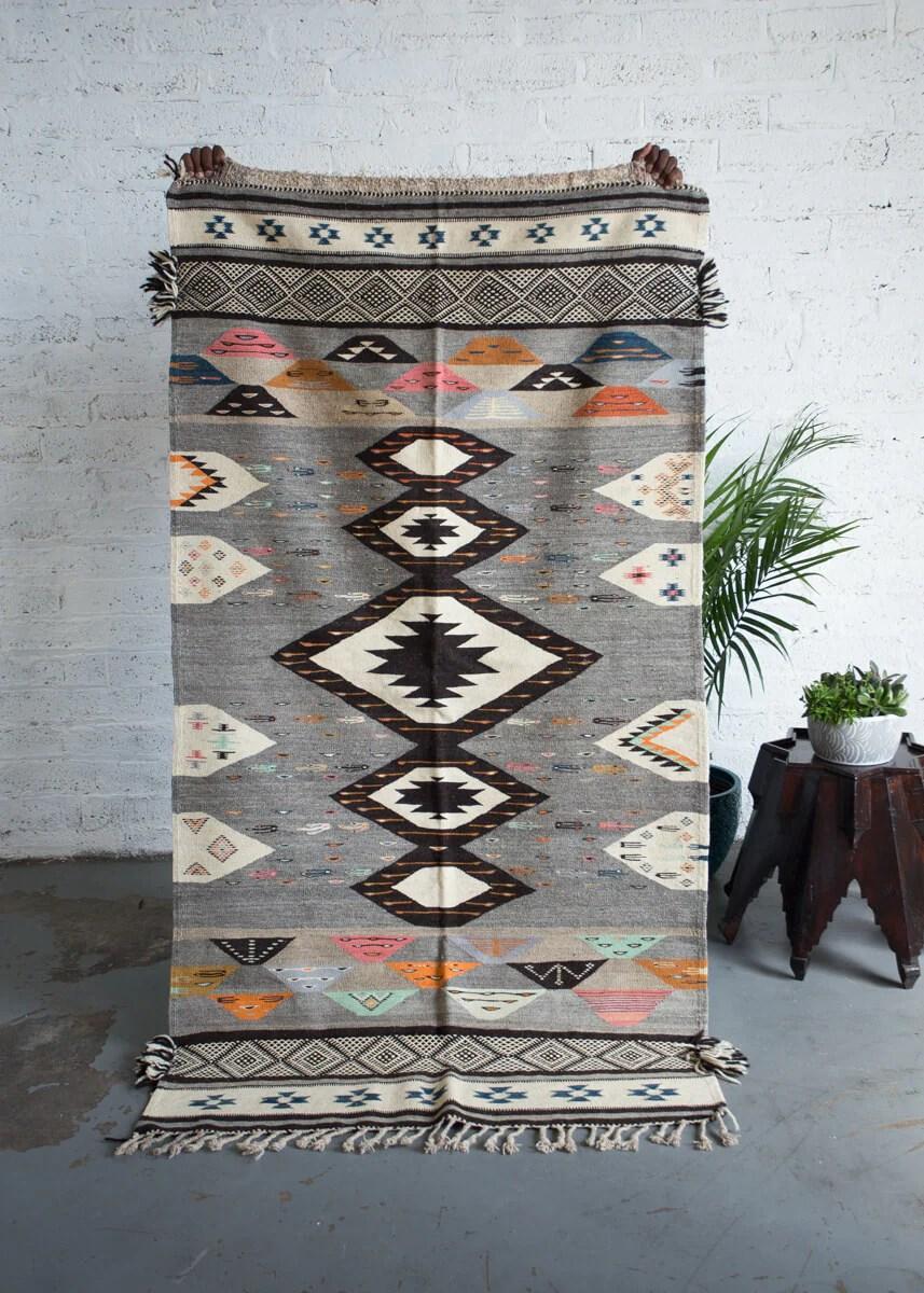 Pastel And Grey Akhnif Zanafi Mix Contemporary Moroccan Kilim Rug 6 8 X 3 8 Ft