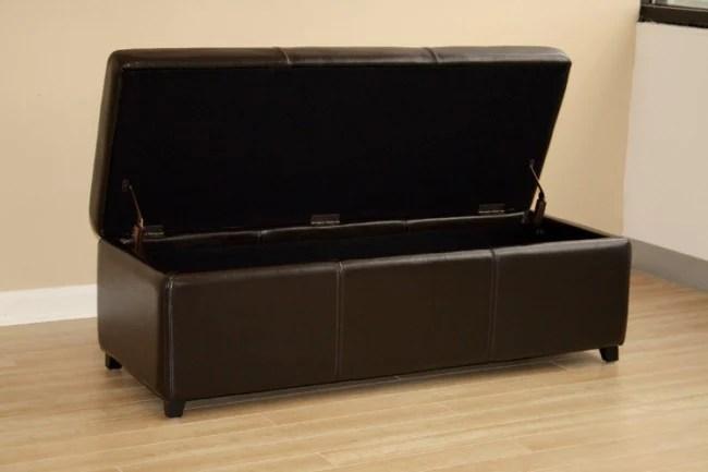 perrin dark brown leather storage ottoman bench