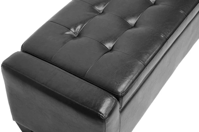 manchester black leather storage ottoman bench