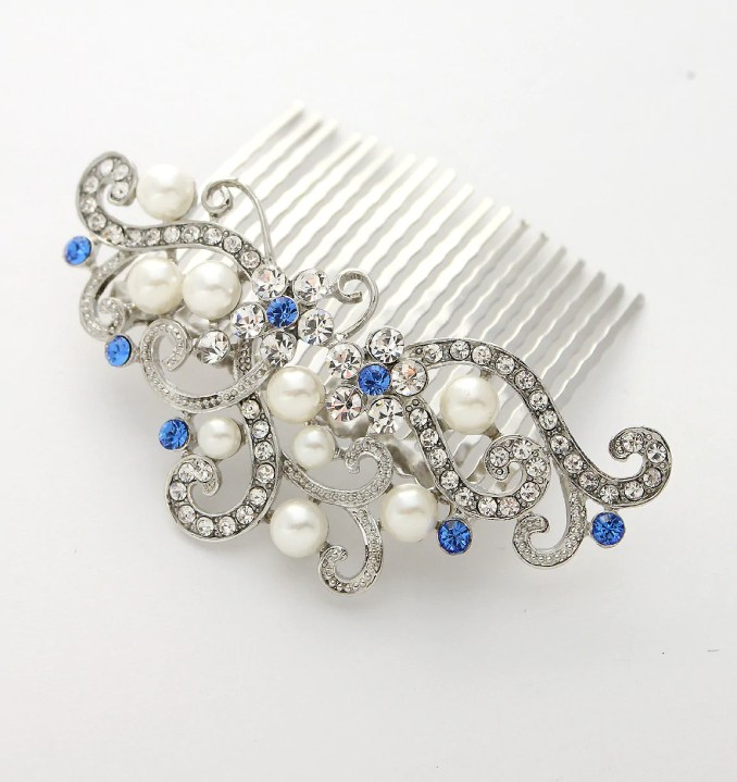 royal blue bridal headpiece