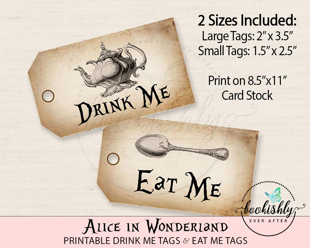 Vintage Alice In Wonderland Tags Eat Me Tags Drink Me Tags Tea Part Bookishly Ever After