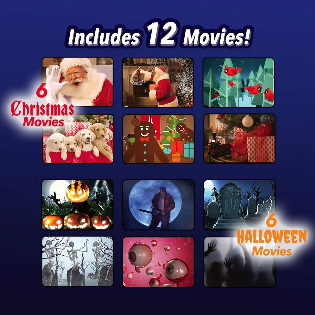 Star Shower 12 Movies Halloween Christmas Projection Lamp Show Window Projector Light Windows Into Festive Movie Screens Ideal For Outdoor Indoor Christmas Halloween Decorations