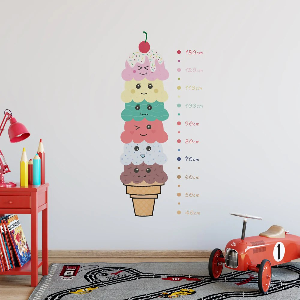 Kawaii ice cream height chart wall sticker next also  red panda stickers rh redpandawallstickers