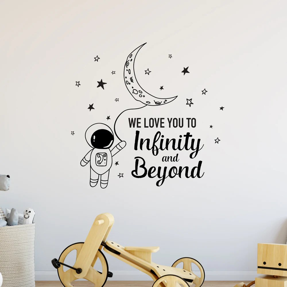 Download We Love You To Infinity And Beyond Moon Wall Sticker - Red ...