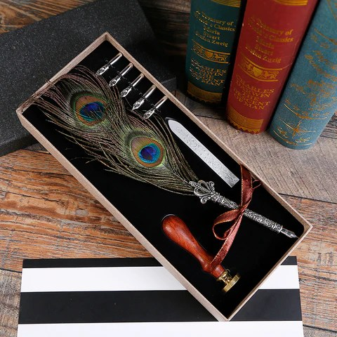 Antique Style Quill Pen With Wax Seal Kit Kaya Reese