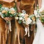 Elegant Off The Shoulder Brown Velvet Side Slit Long Cheap Bridesmaid Mybestbridal