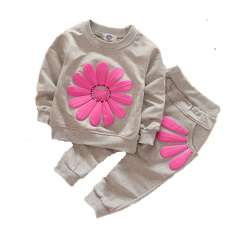 c1c4fe137 Baby Girls Clothes Sunflower Costume Kids Sports Suits Long Sleeves