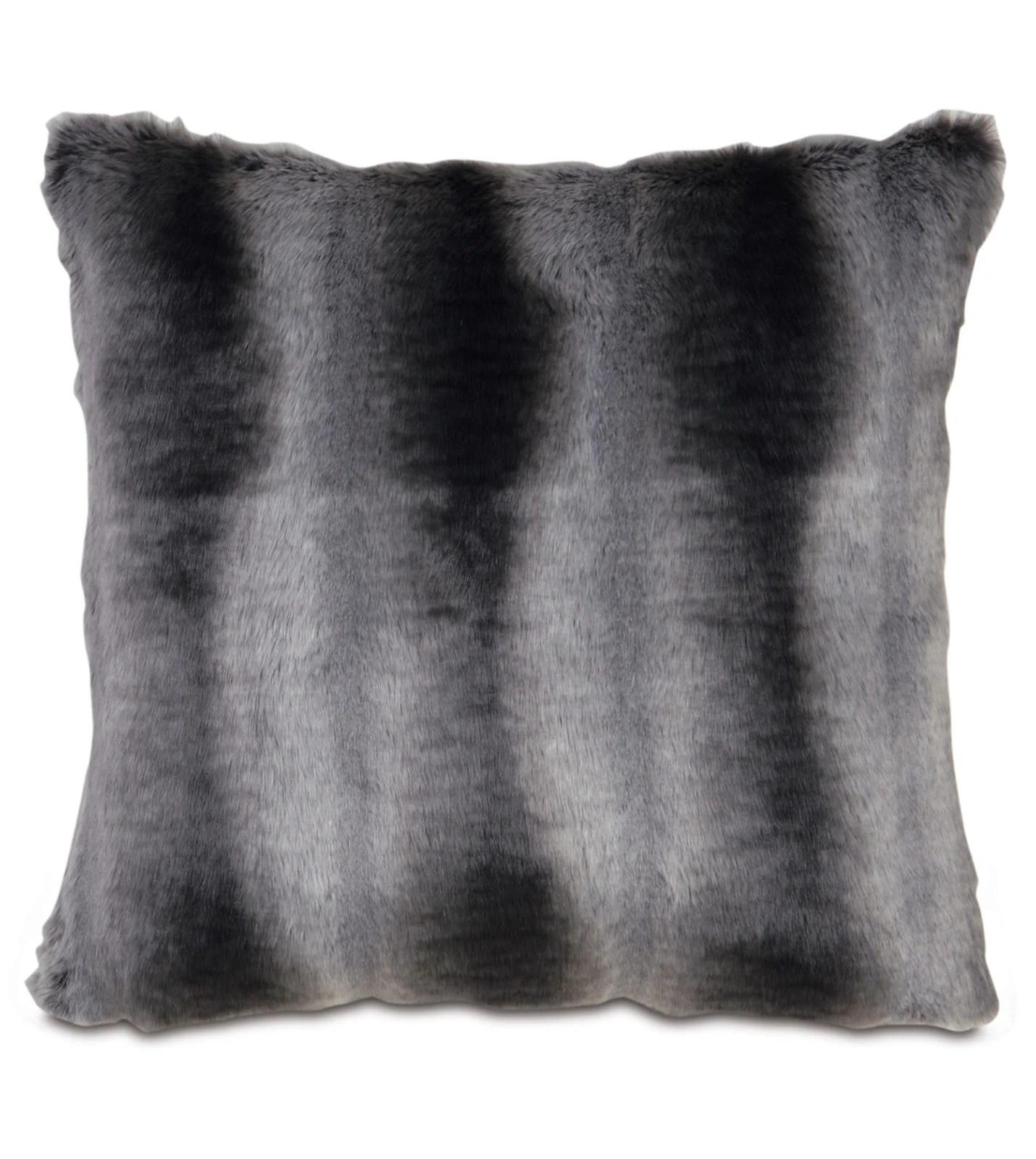 dark gray mountain resort faux fur throw pillow knife edge 20
