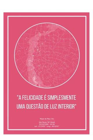 poster do mapa do meu céu meramente ilustrativo, rosa com uma frase de amor próprio