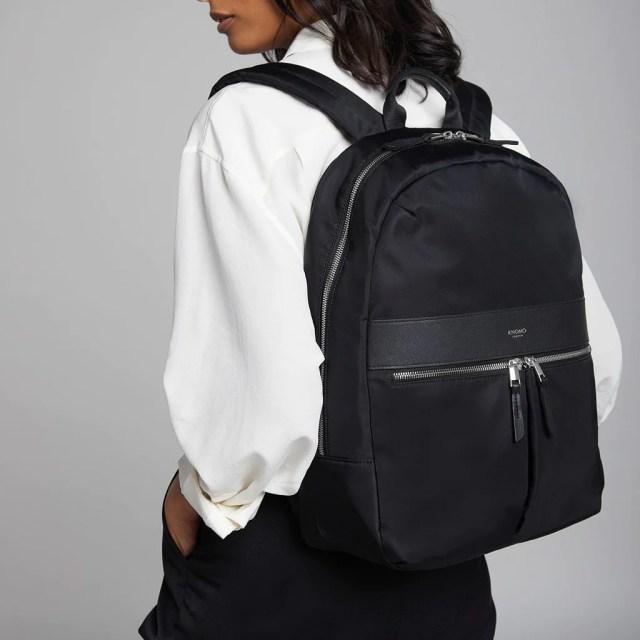 "Beauchamp Laptop Backpack - 14"" - Black / Silver Hardware | KNOMO"