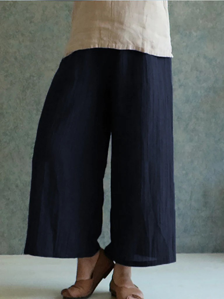 Solid Casual Linen Plus Size Pants  NORACORA