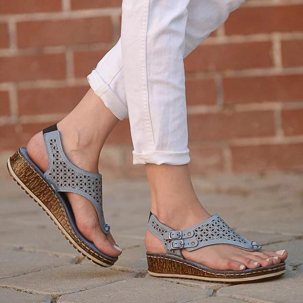 Noracora Sandals Cream Casual Wedge Heel Peep Toe Sandals