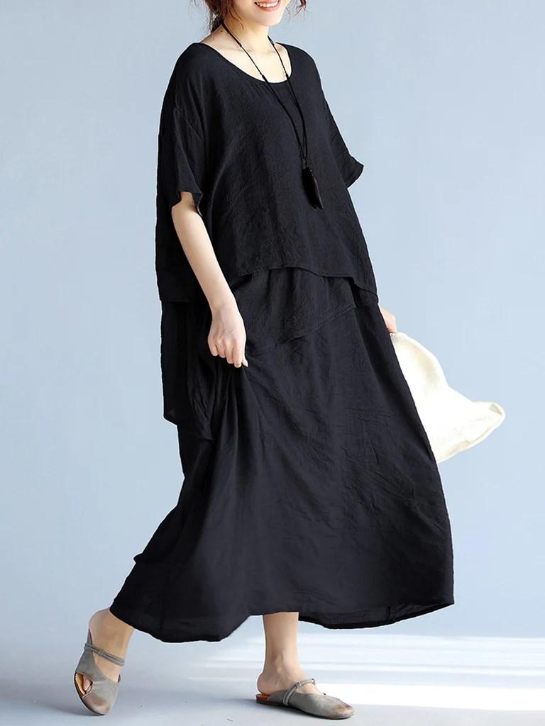 Casual Crew Neck Half Sleeve Hline Solid Maxi Linen Dress