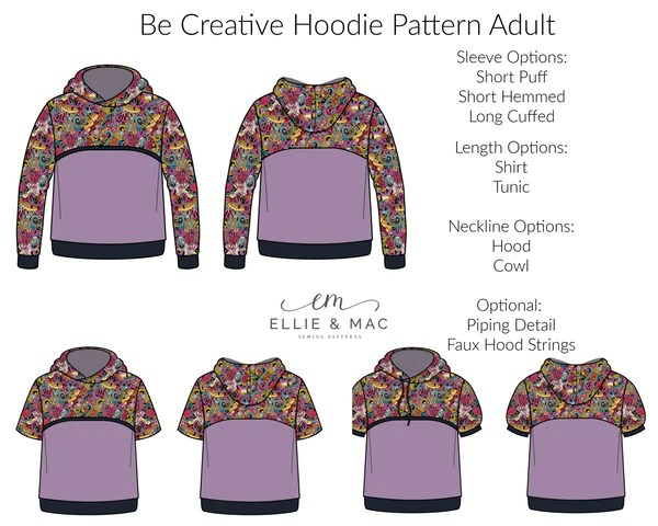 Be Creative Hoodie Pattern Sewing Pattern by Ellie and Mac Sewing Patterns