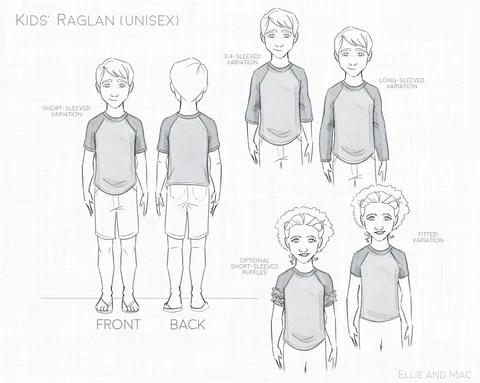 Kids Easy Raglan Tee Sewing Pattern by Ellie and Mac Sewing Patterns