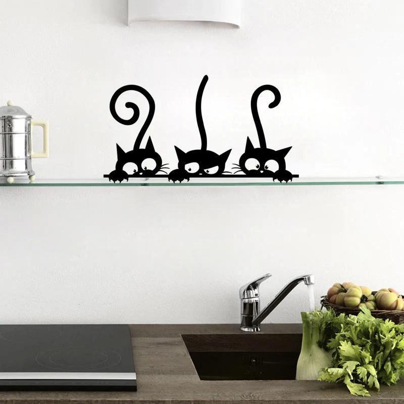 kitchen wall art pantries funny cat fridge stickers home decor waterproof wallpaper room shop