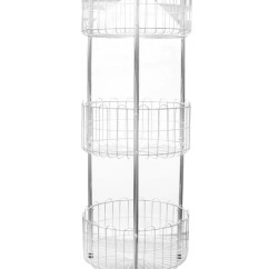 Metal Kitchen Rack Tall Garbage Bags Stainless Steel 3 Tiered Round Clickmall