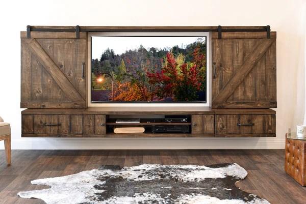 Farmhouse Barn Door Entertainment Center Floating TV Stand