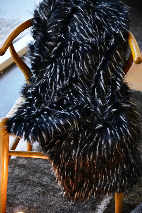 Black and White Faux Fur Throw Blanket  Woodwaves