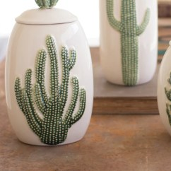Where To Buy Beach Chairs Polywood Rocking Chair Ceramic Southwest Cactus Cacti Canisters - Set Of 3 Woodwaves