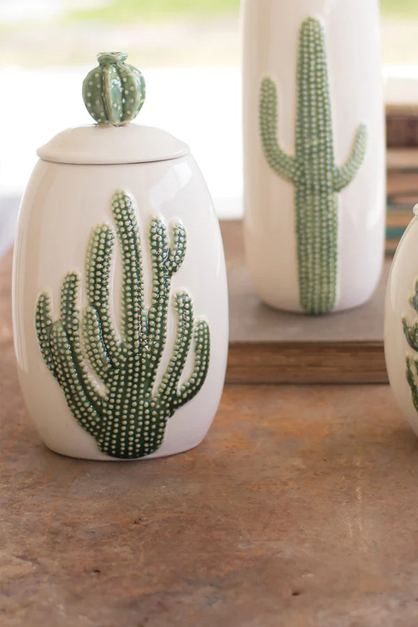 Ceramic Southwest Cactus Cacti Canisters  Set of 3