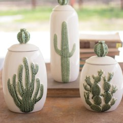 Where To Buy Beach Chairs Furry Bean Bag Canada Ceramic Southwest Cactus Cacti Canisters - Set Of 3 Woodwaves
