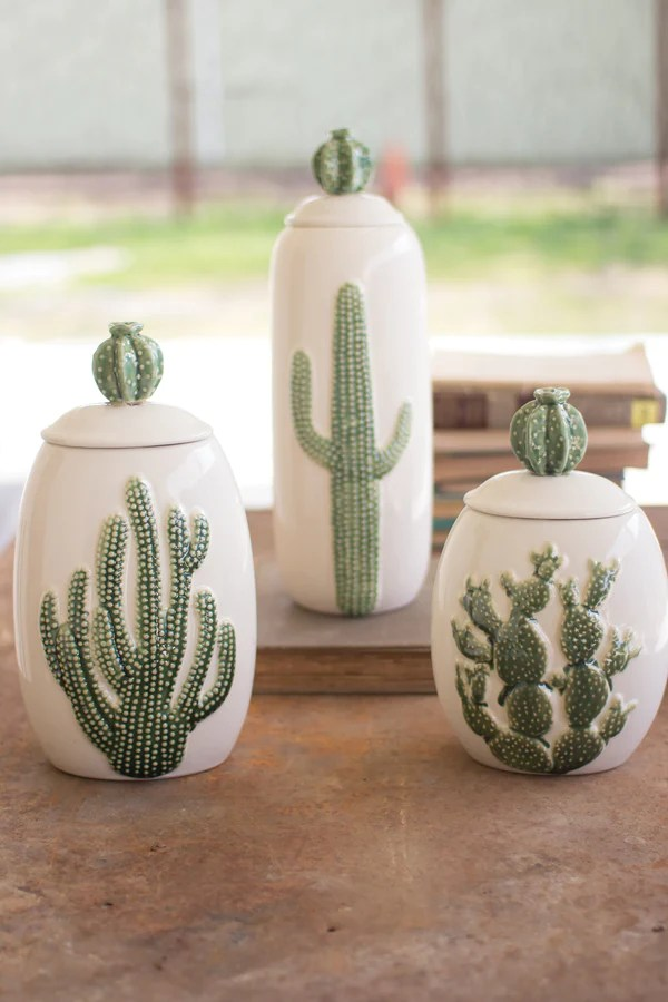 wood chairs for sale acutouch massage chair ceramic southwest cactus cacti canisters - set of 3 woodwaves