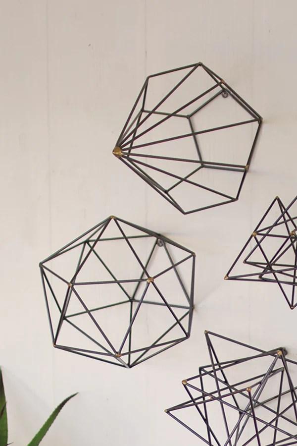 Geometric Metal Wire Wall Art  Set of 6  Woodwaves