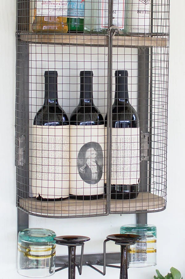 Floating Wall Mount Industrial Modern Cage Wine Bar Liquor Cabinet She Woodwaves