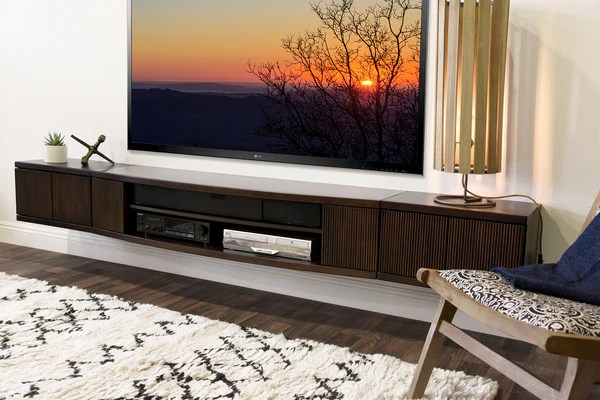 Floating Wall Mount Entertainment Center TV Stand Curve 3 Piece Woodwaves
