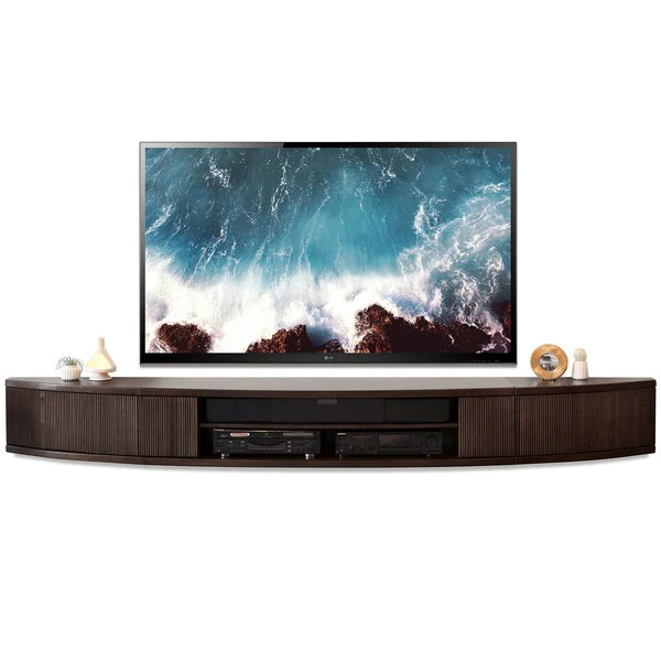 Wall Mount Floating Entertainment Center TV Stand Arc Espresso Woodwaves