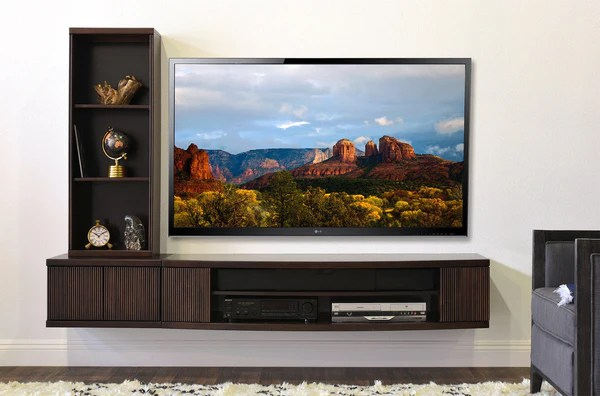 Floating Media TV Stand Curve Espresso 2 Piece Bookcase Woodwaves
