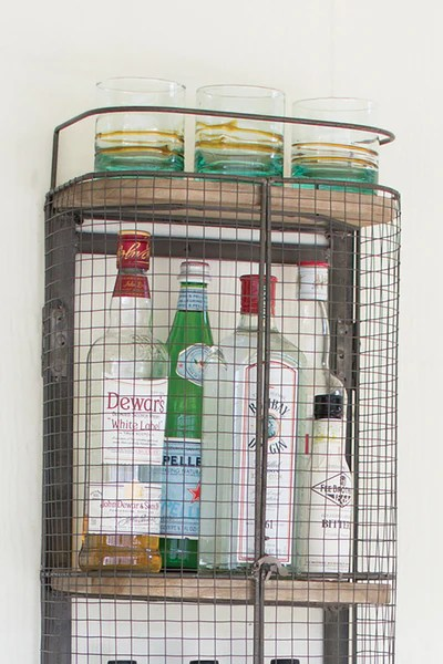 Floating Wall Mount Industrial Modern Cage Wine Bar Liquor