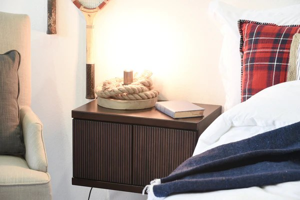 Hanging Floating Wall Mount Nightstand  Curve  Espresso