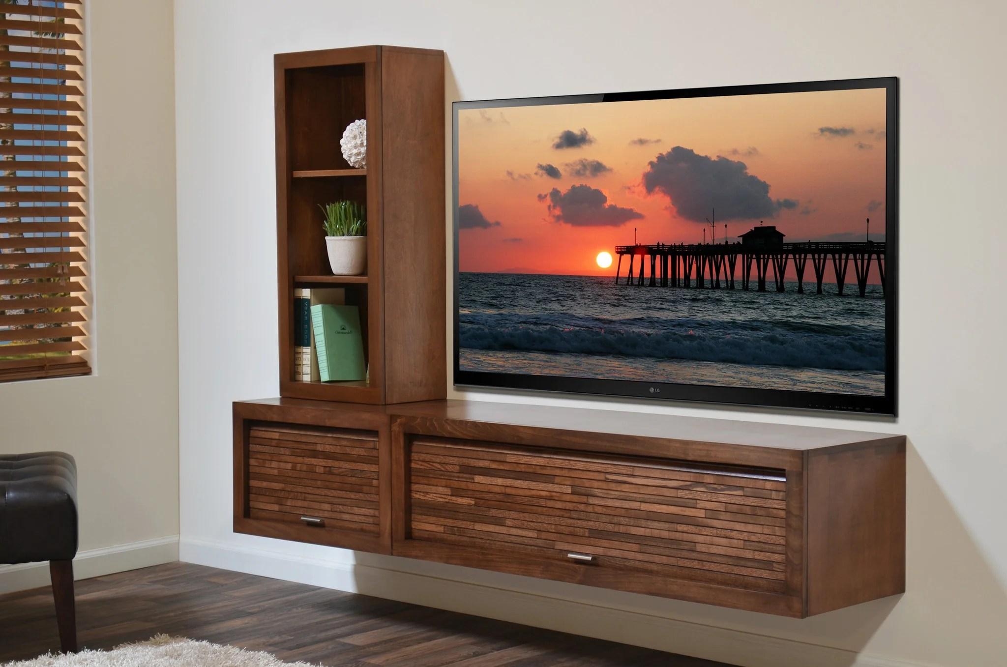 Wall Mount Entertainment Center Tv Console - Eco Geo Mocha