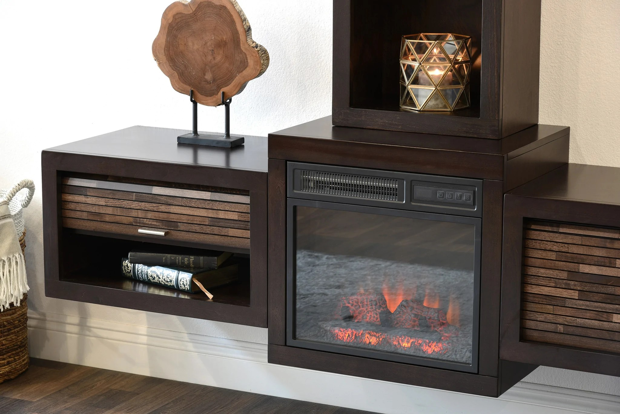 Floating Wall Mount Media Console With Fireplace and Bookcase  ECO GE  Woodwaves