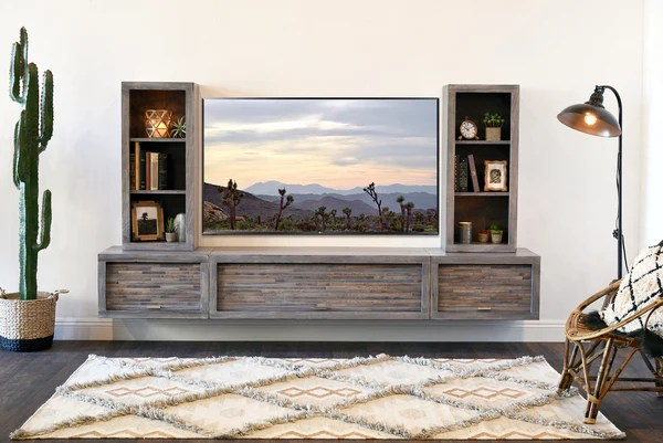 Gray Floating TV Stand Modern Wall Mount Entertainment Center ECO GE Woodwaves