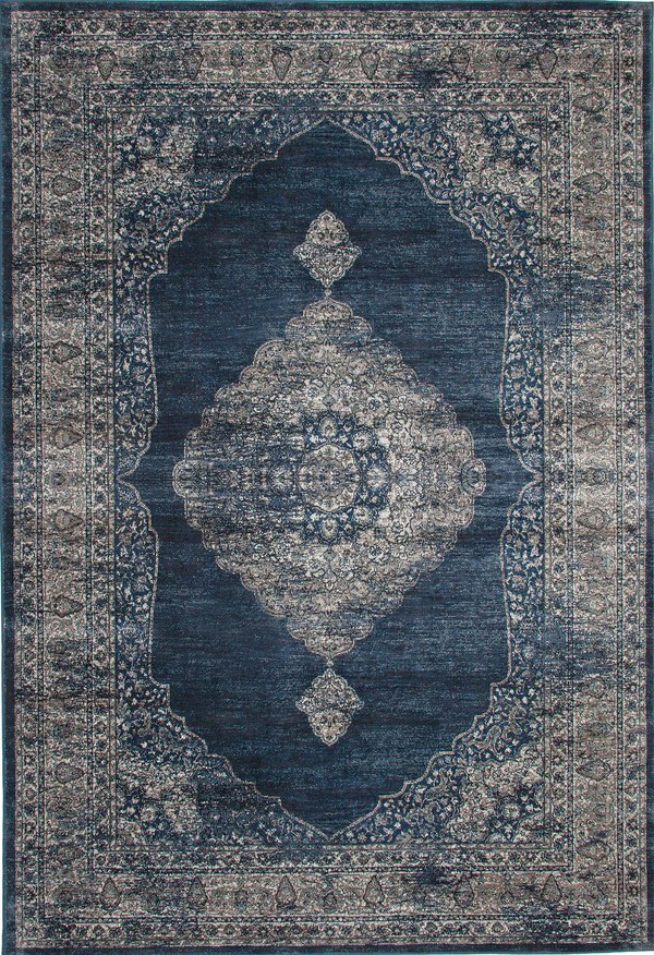 Navy Blue and Silver Faded Worn Overdyed Style Rug  Woodwaves