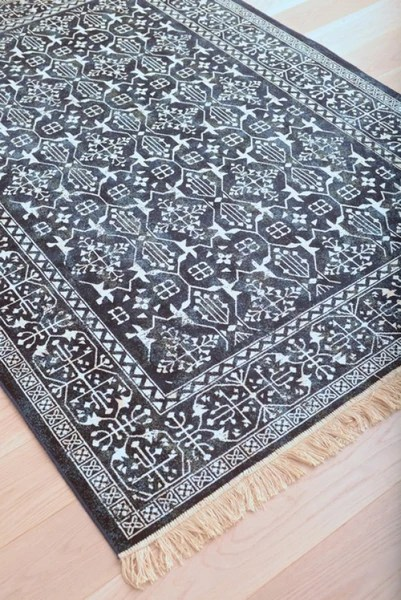 Modern Navy Blue and White Persian Style Fringe Rug