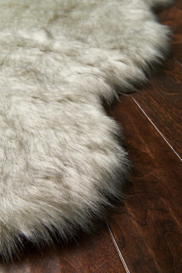 Silver Gray Faux Sheepskin Fur Rug  Woodwaves
