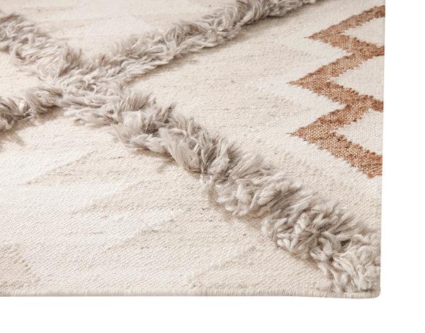 Southwest Boho Modern Neutral Flatweave Wool Area Rug Woodwaves