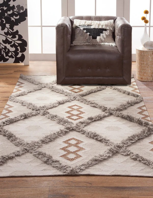 Southwest Boho Modern Neutral Flatweave Wool Area Rug