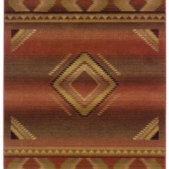 Red Kitchen Rugs Shallow Sink Orange New Mexico Southwest Rug - Woodwaves
