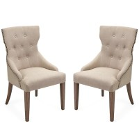 Tufted Linen Shabby Chic Nailhead Trim Dining Chairs - Set ...