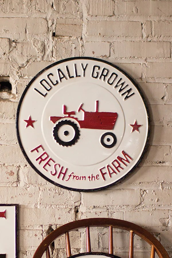 farmhouse style sofa retro sofas london vintage painted metal locally grown farm sign wall ...