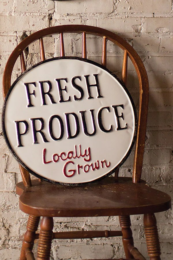 Vintage Style Painted Metal Fresh Produce Farm Sign Wall