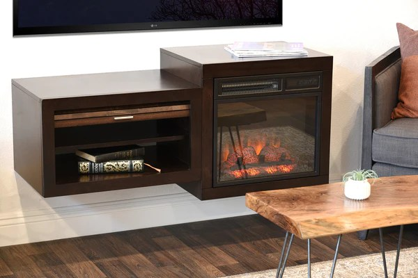 Wall Mount Floating TV Media Stand With Fireplace  Small Spaces  ECO  Woodwaves