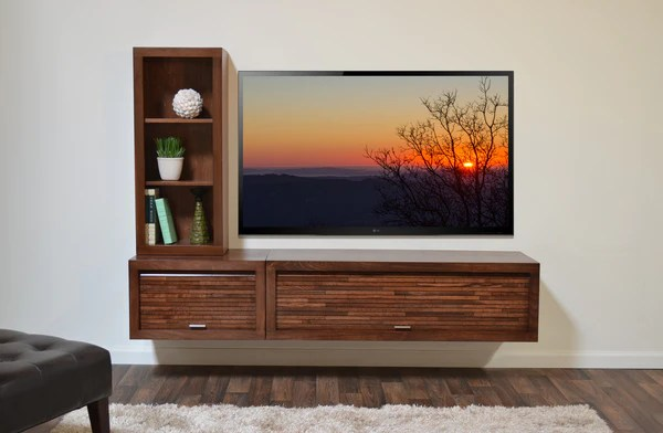Wall Mount Entertainment Center Tv Console Eco Geo Mocha 2pc Amp Bookc Woodwaves
