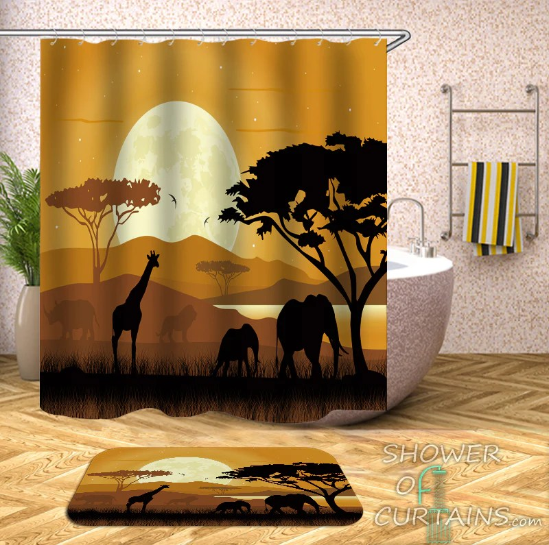 african shower curtain collection