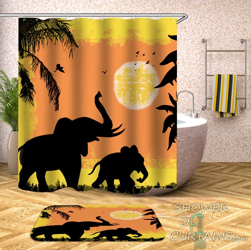 elephant shower curtain collection